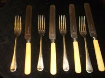 4 X ANTIQUE SILVER PLATED WILLIAM HUTTON FORKS + CELLULOID COOKE KELVEY CALCUTTA